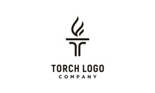 Initial T For Torch Logo Design Inspiration