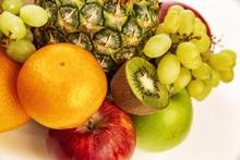 Fruit Plate With Fresh Whole Fruits, Isolated On White Background