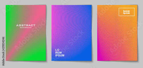 Photo  Set of vertical abstract backgrounds with halftone pattern in neon colors