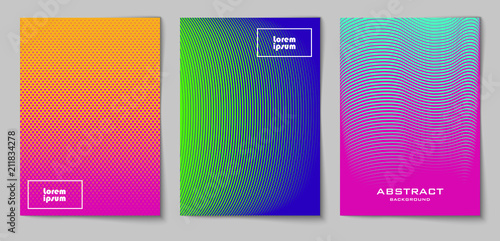 Set of vertical abstract backgrounds with halftone pattern in neon colors Canvas Print