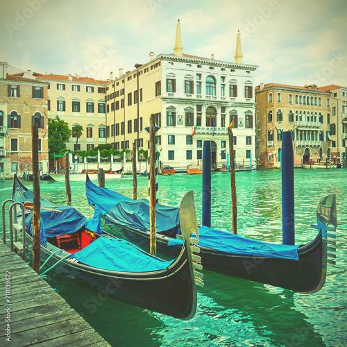 Fotobehang Gondolas Gondolas on The Grand Canal in Venice