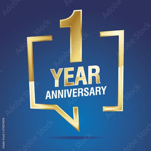Leinwand Poster  1 Year Anniversary gold white blue logo icon