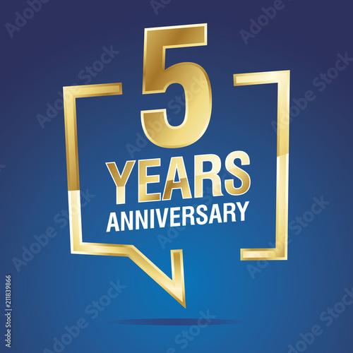 Αφίσα  5 Years Anniversary gold white blue logo icon