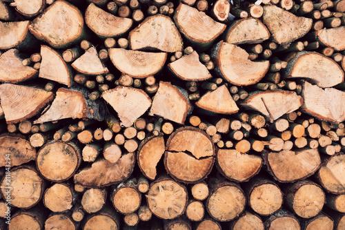 Deurstickers Brandhout textuur Stack Of Wooden Logs Texture