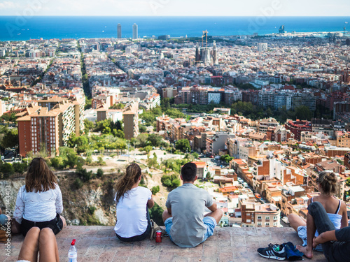 View of the tourists watching the city of Barcelona from the Carmel's bunkers