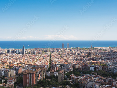 Panoramic view of the city of Barcelona from the Carmel's bunkers