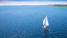 Sailing Boat On Open Water, Ae...
