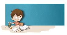 Niño Leyendo Un Libro Mientra...