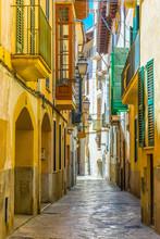 View Of A Narrow Street In The Historical Center Of Palma De Mallorca, Spain