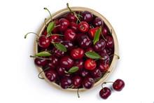 Basket Of Ripe Cherries