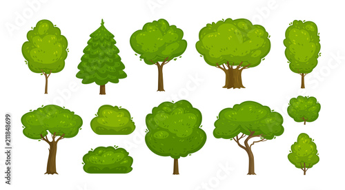 Obraz Trees and bushes set of icons. Forest, nature, environment concept. Cartoon vector illustration - fototapety do salonu