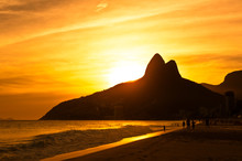 Warm Sunset On Ipanema Beach, ...