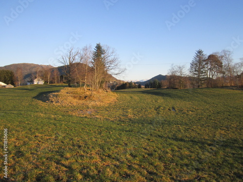Foto op Canvas Blauwe hemel Autumn village landscape...Os Norway