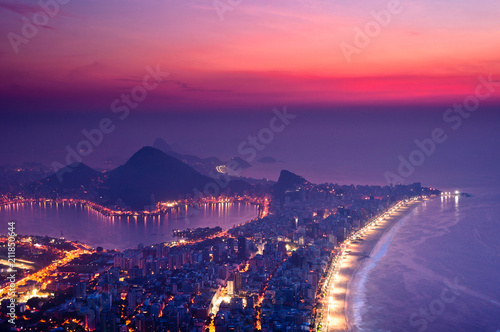 Foto op Plexiglas Amerikaanse Plekken Night View Of Rio de Janeiro with Ipanema Beach, Hills, Lagoon and Urban Areas Just Before the Sunrise