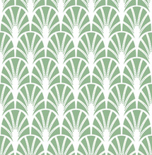 Abstract Green Art Deco Seamless Background. Geometric Fish Scale Pattern.