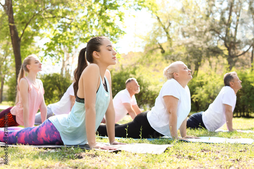 Fotomural Group of people practicing yoga in park on sunny day