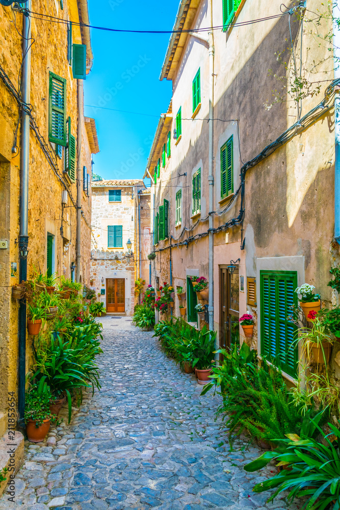 View of a narrow street in the spanish town Valldemossa at Mallorca