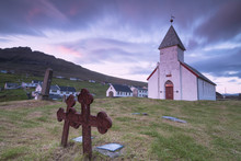 Church Of Vidareidi And Graveyard, Vidoy Island, Faroe Islands, Denmark