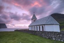 Sunrise On Church Of Vidareidi...