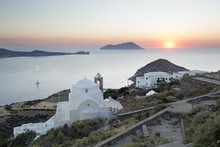 White Greek Church And Milos Bay From Plaka Castle At Sunset, Plaka, Milos, Cyclades, Aegean Sea, Greek Islands, Greece