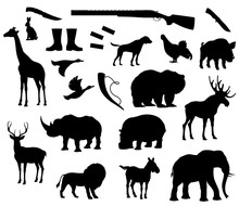 Vector Animals Silhouette Isol...