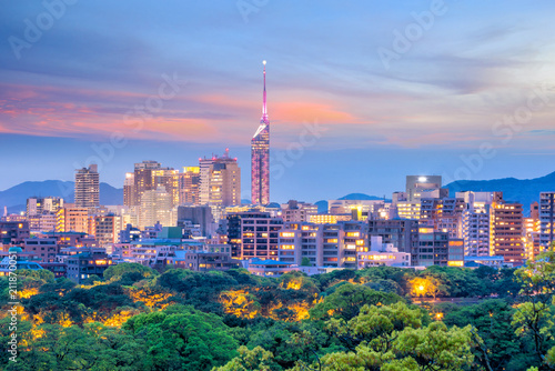 Tuinposter Asia land Fukuoka city skyline in Japan