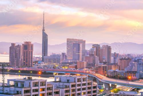 Keuken foto achterwand Asia land Fukuoka city skyline in Japan