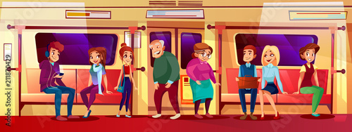 Valokuva  People in subway vector illustration of young boys and girls not giving seat place for elderly old man and woman standing in metro and holding by handhold in crowded train for social issue concept