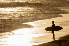 Silhouetted, Isolated Surfer S...