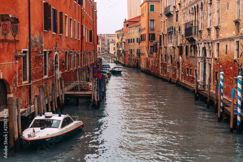 Plakat Ulica z łodzią w Wenecja, Włochy.