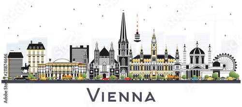 Fototapeta premium Panoramę miasta Wiedeń Austria z kolorowymi budynkami.