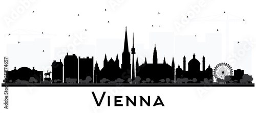 obraz dibond Vienna Austria City Skyline Silhouette with Black Buildings Isolated on White.