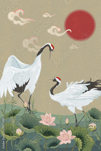 Naklejki żurawie  background-with-japanese-cranes-and-lotuses