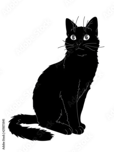 Cute realistic cat sitting Fototapeta