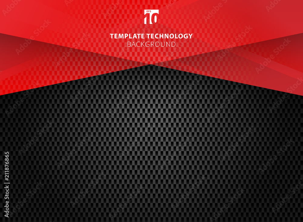 Fototapety, obrazy: Abstract technology geometric red color shiny motion carbon fiber texture on dark background.