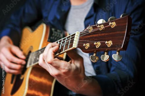 Obraz na plátně Rock guitarist practicing.