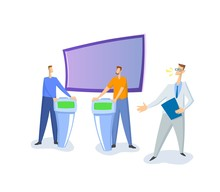 Debate Show On TV, Guests And Host. White Studio With Screen And Stands. Colorful Flat Vector Illustration. Isolated On White Background.