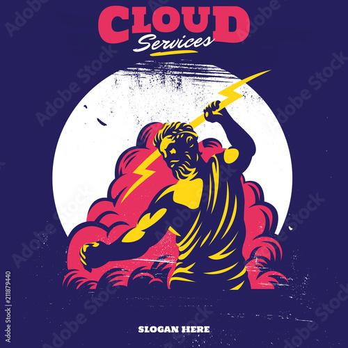 Zeus Thunderbolt Gods Mascot cloud service apps or fast cloud services or clean Wallpaper Mural