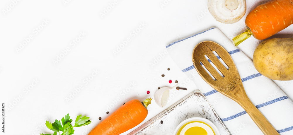 Fototapety, obrazy: Food cooking background. Fresh vegetables, spices and mushrooms on  white background