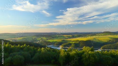 Poster de jardin Piscine blick vom oberbecken markersbach auf das erzgebirge