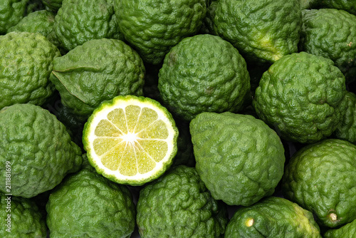 Kaffir limes, one cut citrus fruit for herbal medicine