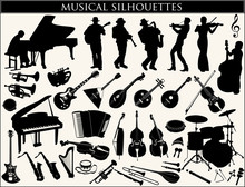 Collection Of Musical Silhouettes On A White Background