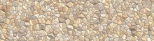 Mosaic Decorative Stones Background. Bathroom And Kitchen Interior. Abstract Ornamental Pattern. Panoramic Image