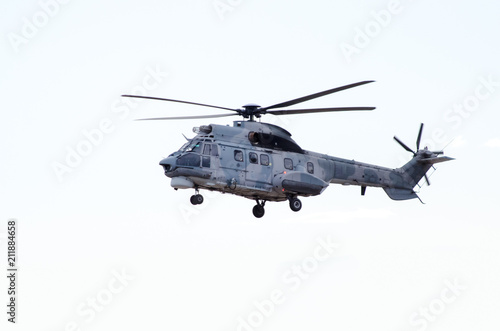 Foto op Plexiglas Helicopter Super puma is a long-range passenger transport all-weather helicopter operation helicopter