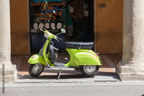 Poster Retro Bologna ITALY July 2018 - vespa special - old italian vintage scooter in front a hair style shop - italian style