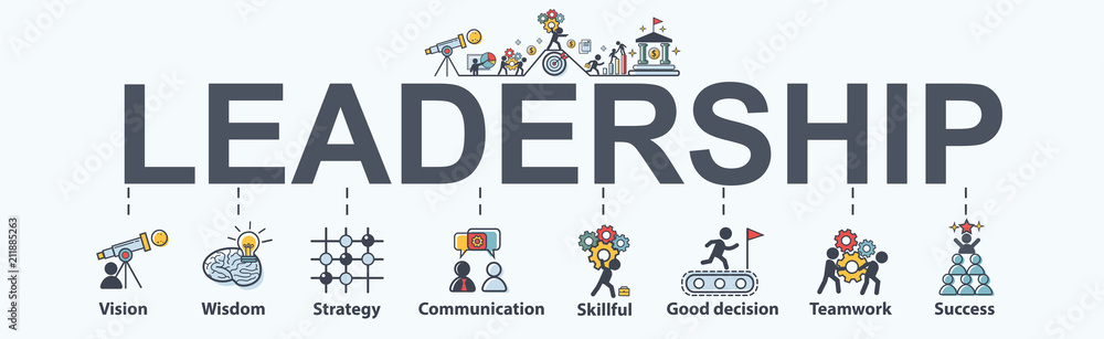 Fototapeta Leadership banner web icon for business, vision, wisdom, skillful, decision, teamwork and success. Minimal vector infographic.