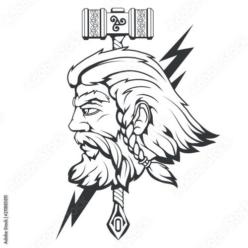 Photo  Scandinavian god of thunder and storm