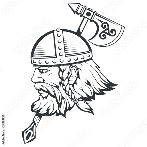 Hand Drawn Of A Viking In A Helmet Scandinavian Traditional Weapons