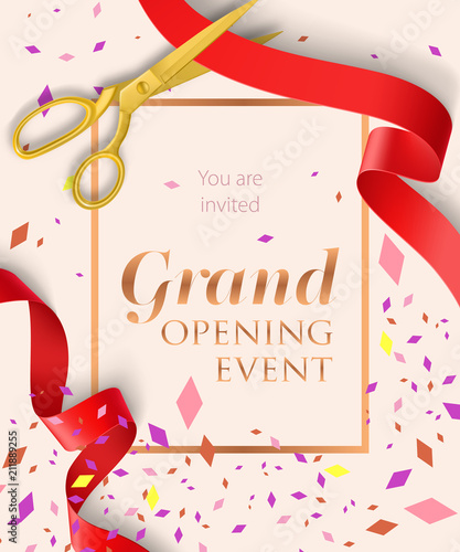 Fototapeta Grand Opening Event Lettering With Confetti Opening Event Invitation Design Typed Text Calligraphy For Leaflets Brochures