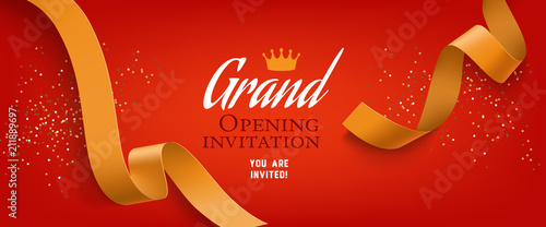 Grand Opening Invitation Red Banner Design With Gold Ribbon